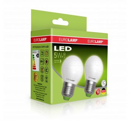 Промо-набор EUROLAMP LED Лампа ЕКО G45 5W E27 4000K акция 1+1
