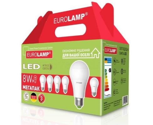 Промо-набір EUROLAMP LED Лампа ЕКО A60 8W E27 3000K акція 6in1