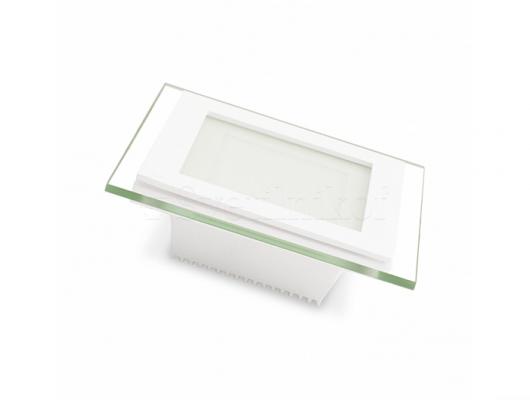 Світильник квадратний EUROLAMP LED стекло Downlight 6W 3000K