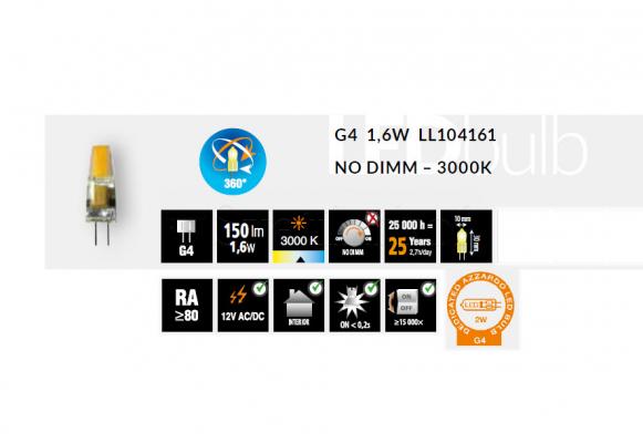Лампа AZZARDO LED G4 1.6W 3000K LL104161